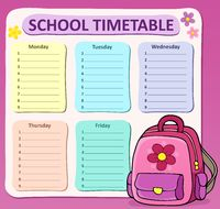 Weekly school timetable composition 8 - picture illustration.