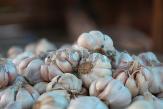 Close-up Of Dried Garlic Heads Stock Ready For Cooking