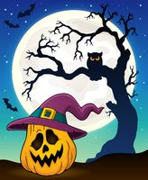 Pumpkin in witch hat theme image 3