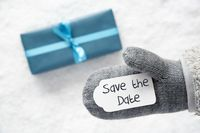 Turquoise Gift, Glove, Text Save The Date