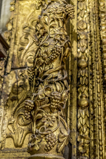 Interior of gothic cathedral in Spain, details of woodwork with gold leaf