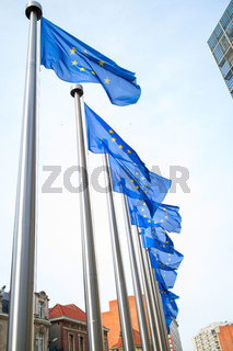 Flags in front of the EU Commission building