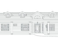 Custom Black Pencil House Drawing on White Background.