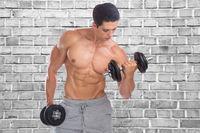 Bodybuilding Bodybuilder Muskeln Body Building Training Bizeps Hantel Wand Mauer