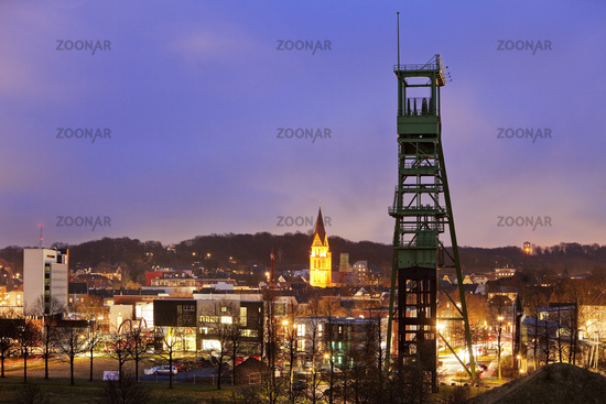 The conveyor tower of the Erin colliery at night in Castrop-Rauxel, Ruhr Area, Germany, Europe