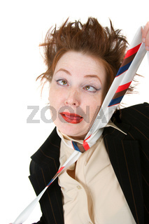 Depressed businesswoman strangle suicide  self tie