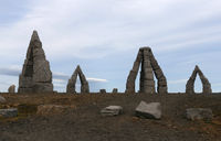 The mystical arctic henge in Raufarhofn in the north east part of Iceland