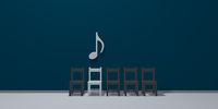 musiknote über einer reihe von stühlen - 3d rendering