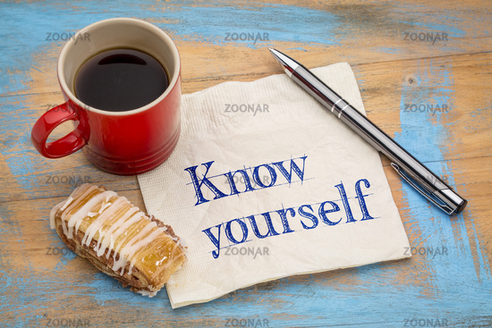 Know yourself concept on napkin