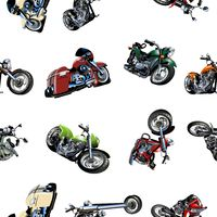Cartoon Motorcycle seamless pattern