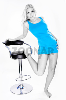 blue top girl on white background