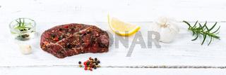 Fleisch Steak roh Rindfleisch Banner Holzbrett