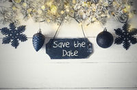 Black Christmas Plate, Fairy Light, Text Save The Date