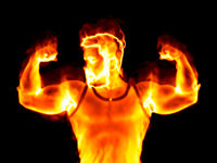 burning strong man