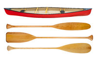 canoe and wooden paddles isolated
