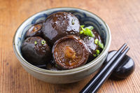 Japanese pickled Shiitake as close-up in a bowl