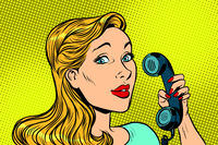 Blonde woman talking on retro phone