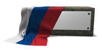 steinsockel mit leerem schild und fahne von russland - 3d rendering