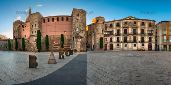 Panorama of Ancient Roman Gate and Placa Nova in the Morning, Barri Gotic Quarter, Barcelona, Catalo