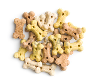 Dog food shaped like bones.