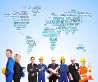 Arbeiter und Ingenieure weltweit als Team