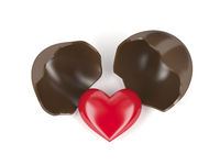 Chocolate egg and heart
