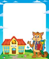 School cat theme frame 1 - picture illustration.