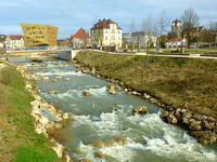 Redesigned river of Rems in Swabian Gmuend in Baden-Wuerttemberg