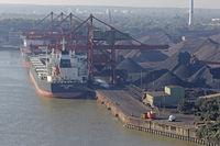 View from Köhlbrandbridge at coal port, Hansaport Hamburg, Germany, Europe