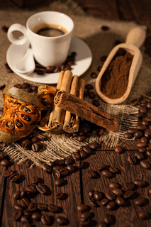 Cup of coffee with cinnamon and dried orange fruit