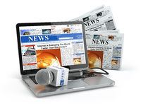 News concept. Laptop with microphone and newspaper isolated on white.