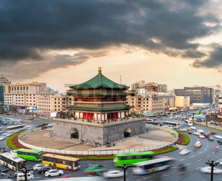 xian bell tower at dusk