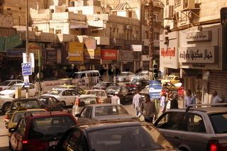 Das Stadtzenttum der Jordanieschen Hauptstadt Amman beim Hashemite Quartier