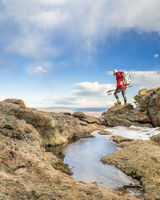 backpacker on a mountain ridge in Colorado