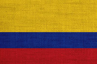 Fahne von Kolumbien auf altem Leinen - Flag of Colombia on old linen