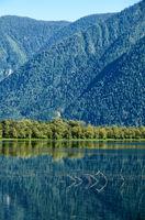 Shallow bay on South part of Lake Teletskoye  in Altay