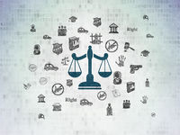 Law concept: Scales on Digital Data Paper background
