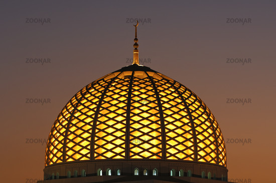 Illuminated dome of the Sultan Qaboos Mosque