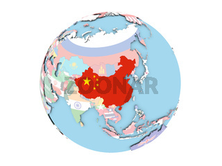 China on globe isolated