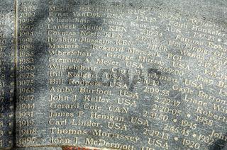 Namen der Sieger des Boston-Marathons in Granit