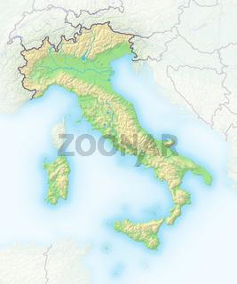 Italien , Reliefkarte.