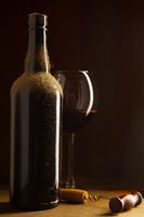 Vntage wine bottle and wineglass