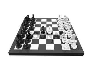 isolated blackboard and chess on white background