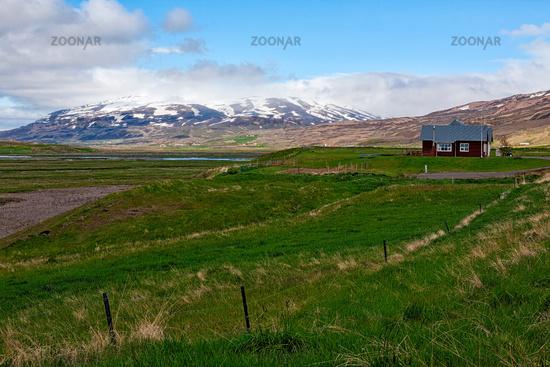 Little farm in Laufas village near Akureyri, Iceland