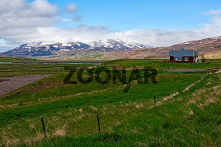 Little farm in Laufas village near Akureyri, Iceland