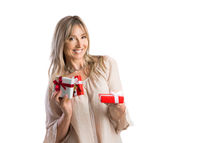 Female woman holding giving a bunch of wrapped gifts