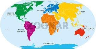 Sieben Kontinente Weltkarte