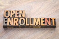 open enrollment word abstract in wood type