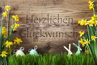 Easter Decoration, Gras, Herzlichen Glueckwunsch Means Congratulations
