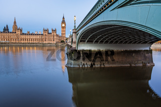 Big Ben, Queen Elizabeth Tower and Westminster Bridge Illuminated in the Morning, London, United Kingdom